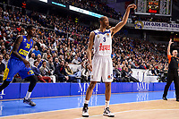 Real Madrid's Anthony Randolph and Maccabi Fox's Quincy Miller during Turkish Airlines Euroleague match between Real Madrid and Maccabi at Wizink Center in Madrid, Spain. January 13, 2017. (ALTERPHOTOS/BorjaB.Hojas)