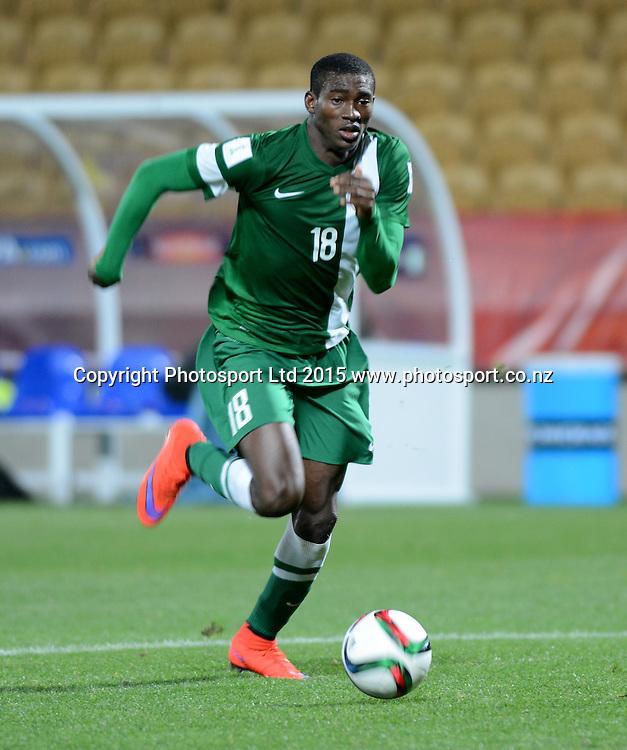 Nigeria's Taiwo Awoniyi during the FIFA U-20 World Cup New Zealand. Hungary vs Nigeria, played at Stadium Taranaki, New Plymouth NZ, Sunday 7th June 2015.  <br />  Photo John Velvin / ESPNZ