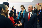 29 November 2010- New York, NY- Mayor Michael Bloomberg greets Artists and Musicians in Greenroom at the ' Stat! For NYC's Public Hospitals! ' Press Conference held at Kings County Hospital on November 29, 2010 in Brooklyn, NY. Photo Credit: Terrence Jennings