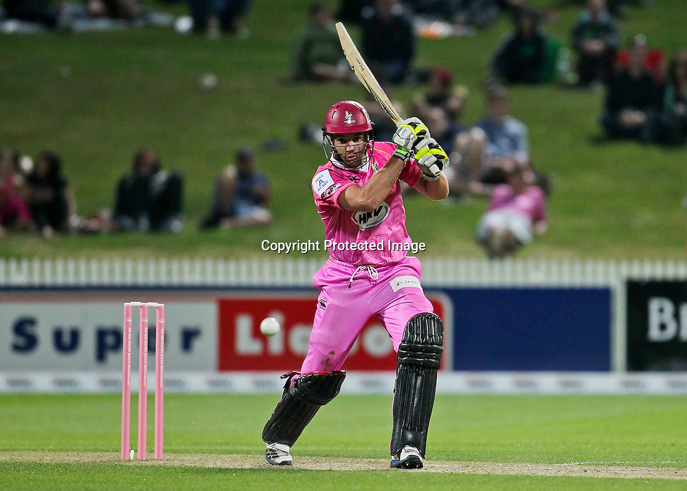 Northern Knight's Brad Wilson batting during the HRV Cup - Northern Knights v Otago Volts at Seddon Park, Hamilton on Friday 14 December 2012.  Photo: Bruce Lim / Photosport.co.nz
