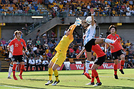 SYDNEY, NSW - FEBRUARY 28: The ball goes over the head of Korean player Gaae Kang (1) at The Cup of Nations womens soccer match between Argentina and Korea Republic on February 28, 2019 at Leichhardt Oval, NSW. (Photo by Speed Media/Icon Sportswire)