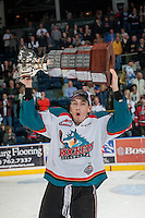KELOWNA, CANADA - MAY 13: Justin Kirkland #23 of Kelowna Rockets skates with the WHL Championship trophy on May 13, 2015 during game 4 of the WHL final series at Prospera Place in Kelowna, British Columbia, Canada.  (Photo by Marissa Baecker/Shoot the Breeze)  *** Local Caption *** Justin Kirkland;