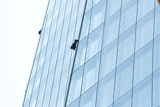 JULY 11 2013 Greenpeace protesters attempt to scale The Shard in London