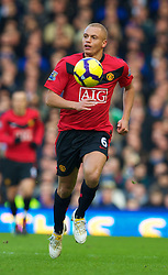 LIVERPOOL, ENGLAND - Saturday, February 20, 2010: Manchester United's Wes Brown in action against Everton during the Premiership match at Goodison Park. (Photo by: David Rawcliffe/Propaganda)