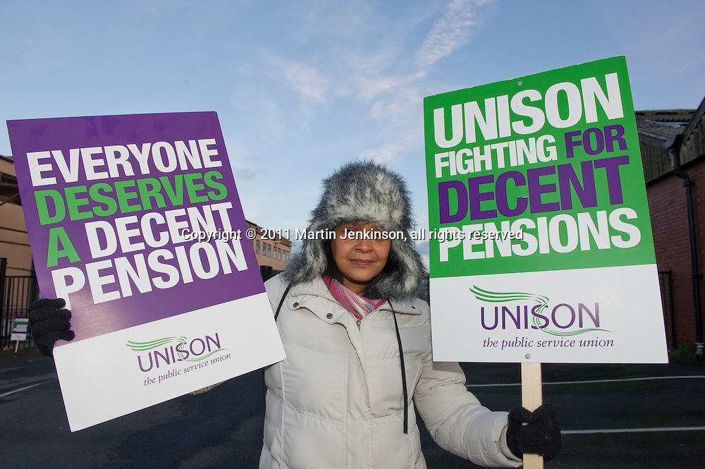 Melissa Sylvester, Kirklees Unison members on the TUC Day of Action 30th November, Huddersfield.