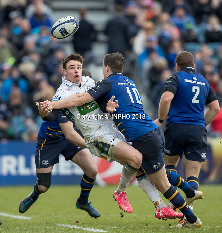 European Rugby Champions Cup Round 5, RDS, Dublin 14/1/2018<br /> Leinster vs Glasgow Warriors<br /> Leinster's Johnny Sexton with Lee Jones of Glasgow<br /> Mandatory Credit &copy;INPHO/Morgan Treacy
