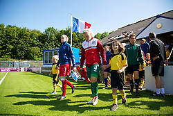 HAVERFORDWEST, WALES - Sunday, August 25, 2013: Wales' captain Lauren Price walks out before the Group A match against France of the UEFA Women's Under-19 Championship Wales 2013 tournament at the Bridge Meadow Stadium. (Pic by David Rawcliffe/Propaganda)