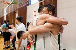 Jasmin Hukic and Goran Jagodnik after basketball match between KD Ilirija and KK Mesarija Prunk Sezana in Last Round of 2. SKL  2016/17, on April 15, 2017 in GIB center, Ljubljana, Slovenia. Photo by Vid Ponikvar / Sportida