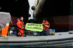 SOUTHERN OCEAN ESPERANZA 22JAN08 - Greenpeace activists highlight Gabon's support for Japan's whaling programme as the fleet's factory ship Nisshin Maru refuels from the supply vessel Oriental Bluebird in the Southern Ocean Whale Sanctuary. The Panama-registered Oriental Bluebird is illegally operating as part of the whaling fleet in Antarctic waters...jre/Photo by Jiri Rezac..© Jiri Rezac 2008..Contact: +44 (0) 7050 110 417.Mobile:  +44 (0) 7801 337 683.Office:  +44 (0) 20 8968 9635..Email:   jiri@jirirezac.com.Web:    www.jirirezac.com..© All images Jiri Rezac 2008 - All rights reserved.