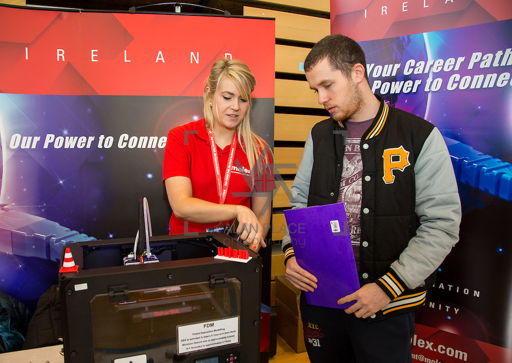 11.10.2016           <br /> Limerick Institute of Technology Careers Fair. Pictured are, Claire Monaghan, Molex, and Dylan Skerritt. Picture: Alan Place
