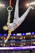 Marcel Nguyen of Germany smiles on the rings during the The Superstars of Gymnastics event at the O2 Arena, London, United Kingdom on 23 March 2019.