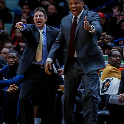 Jan 12, 2018; New Orleans, LA, USA; New Orleans Pelicans head coach Alvin Gentry and associate head coach Darren Erman react to a foul call during the second half against the Portland Trail Blazers at the Smoothie King Center. The Pelicans defeated the Trail Blazers 119-113. Mandatory Credit: Derick E. Hingle-USA TODAY Sports