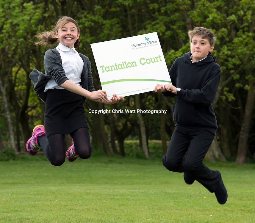 20/05/2016, McCarthy and Stone street naming photocall, Law Primary  school, North Berwick. Comp winners, Issy Ashall and Oliver Rasch-Murphy. Picture Copyright Chris Watt<br /> Tel -  07887 554 193<br /> info@chriswatt.com<br /> www.chriswatt.com