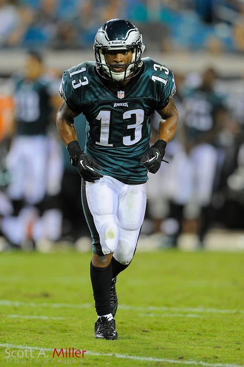 Philadelphia Eagles wide receiver Damaris Johnson (13) during a preseason NFL game against the Jacksonville Jaguars at EverBank Field on Aug. 24, 2013 in Jacksonville, Florida. The Eagles won 31-24.<br /> <br /> &copy;2013 Scott A. Miller