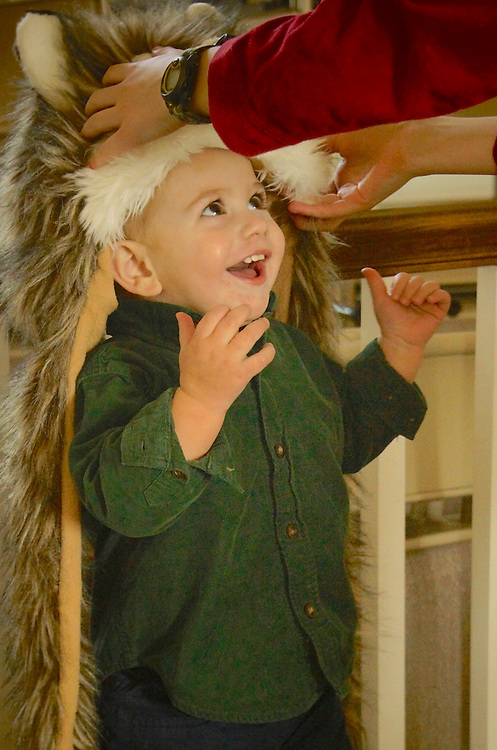 Eighteen month old Ali delights in wearing wolf head piece.