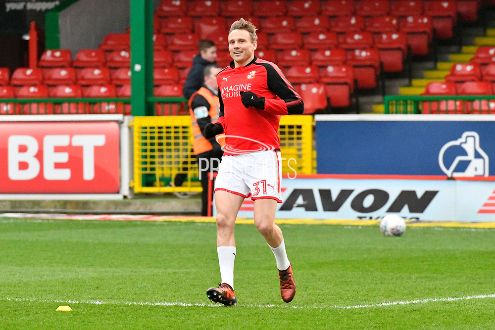 Matt Taylor (31) of Swindon Town warming up before the EFL Sky Bet League 2 match between Swindon Town and Yeovil Town at the County Ground, Swindon, England on 10 April 2018. Picture by Graham Hunt.