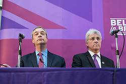 © Licensed to London News Pictures . 23/03/2015 . Middleton , UK . Nigel Farage and UKIP candidate for Heywood and Middleton , John Bickley . UKIP leader Nigel Farage , Deputy Leader Paul Nuttall and Economics Spokesman Patrick O'Flynn announce UKIP's economic policy at Concept Metal Products and Co Ltd in Middleton , Lancashire . Photo credit : Joel Goodman/LNP