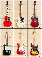 Collage of various guitars
