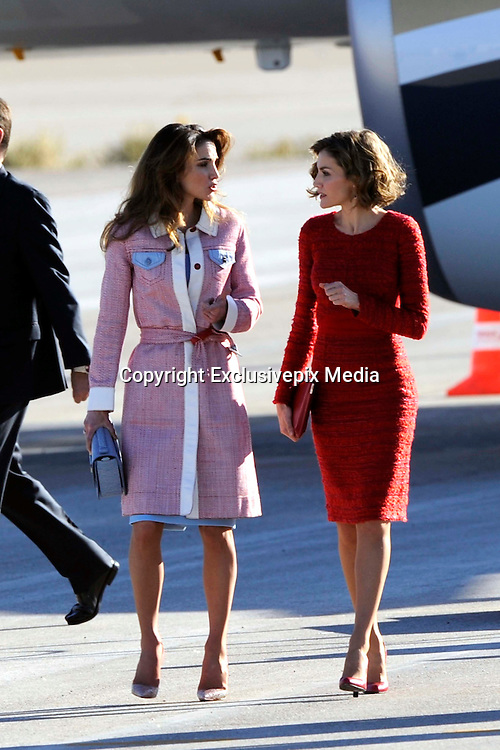 MADRID, SPAIN, 2015, NOVEMBER 19 <br /> <br /> Kings Felipe and Letizia official reception King Abdullah and Queen Rania<br /> <br /> Kings Felipe and Letizia, Official welcome at the airport of Madrid to Their Majesties, The King of Jordan Abdullah II bin al-Hussein and Queen Rania, on his working visit to Spain<br /> &copy;Exclusivepix Media