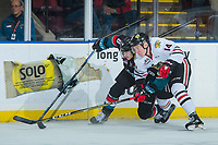 KELOWNA, CANADA - OCTOBER 20: Jake Gricius #14 of the Portland Winterhawks checks Jack Cowell #8 of the Kelowna Rockets into the boards during second period on October 20, 2017 at Prospera Place in Kelowna, British Columbia, Canada.  (Photo by Marissa Baecker/Shoot the Breeze)  *** Local Caption ***