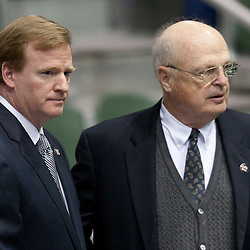 Dec 22, 2009; Westwego, LA, USA;  NFL commissioner Roger Godell (left) and Cincinnati Bengals owner Mike Brown (right) pay their respects during funeral services for Cincinnati Bengals wide receiver Chris Henry held at the Alario Center. Mandatory Credit: Derick E. Hingle-US PRESSWIRE