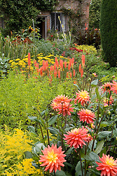 Hot colours in the Cottage Garden at Sissinghurst Castle. Dahlia 'Brandaris', Kniphofia 'David' and Achillea 'Coronation Gold'