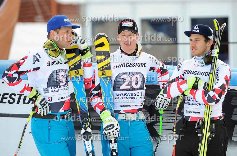 28.02.2015, Kandahar, Garmisch Partenkirchen, GER, FIS Weltcup Ski Alpin, Abfahrt, Herren, Siegerpräsentation, im Bild v.l. Romed Baumann (AUT, 2. Platz), Hannes Reichelt (AUT, 1. Platz), Matthias Mayer (AUT, 3. Platz) // second placed Romed Baumann of Austria ( L ), first placed Hannes Reichelt of Austria ( C ) and third placed Matthias Mayer of Austria ( R )  during the winner presentation for the men's Downhill of the FIS Ski Alpine World Cup at the Kandahar course, Garmisch Partenkirchen, Germany on 2015/02/28. EXPA Pictures © 2015, PhotoCredit: EXPA/ Erich Spiess
