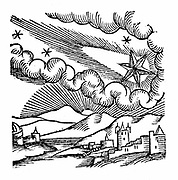 Comet of 1546 (Halley). At this appearance the comet was excommunicated by Pope Calixtus III. From Conrad Lycosthenes 'Prodigioum ac ostentorum chronicon' Basle 1557. Woodcut