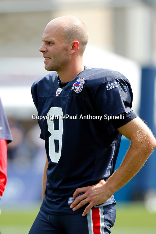 NFL Buffalo Bills punter Brian Moorman (8) looks on during training camp at St. John Fisher College on August 5, 2010 in Pittsford, New York. (©Paul Anthony Spinelli)