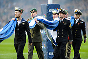 Armed forces carry off Scotland flag after minute's silence for Rememberance Day before the 2018 Autumn Test match between Scotland and Fiji at Murrayfield, Edinburgh, Scotland on 10 November 2018.