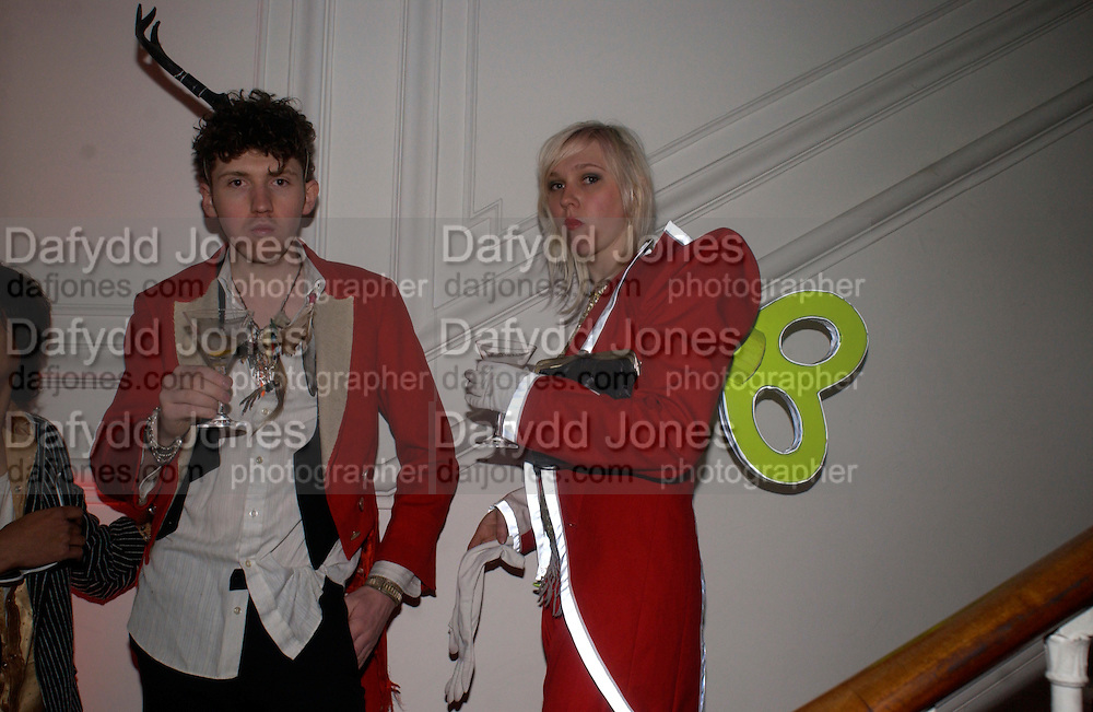 Matthew Stane and Tara Grant, Dazed and Confused/ Another magazine party at 35 Belgrave Sq. Party rooms designed by designers: Stella McCartney, Hussein Chaylayan and Dolce and Gabanna, 29 April 2004. ONE TIME USE ONLY - DO NOT ARCHIVE  © Copyright Photograph by Dafydd Jones 66 Stockwell Park Rd. London SW9 0DA Tel 020 7733 0108 www.dafjones.com