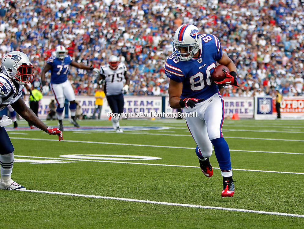 Buffalo Bills wide receiver David Nelson (86) catches a pass during the NFL week 3 football game against the New England Patriots on Sunday, September 25, 2011 in Orchard Park, New York. The Bills won the game 34-31. ©Paul Anthony Spinelli