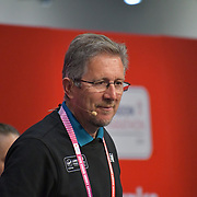 Speaker Geoff Wightman at London Marathon Exhibition 2019 - ExCeL London on 26 April 2019, London, UK.