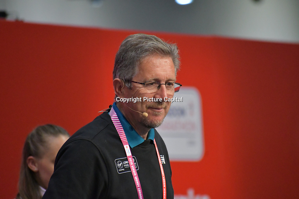 Speaker Geoff Wightman at London Marathon Exhibition 2019 - ExCeL London on 26 April 2019, London, UK.