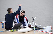 Caversham, GREAT BRITAIN,   GB, Men's 1X, right, Tom AGGAR, GBR AM1X,, coach, Chad KING [Chief Coach, GB Rowing Adaptive Squard] [Chief Coach, GB Rowing Adaptive Squard], GB Rowing,  Adaptive Rowing Media Day [athletes training for the Beijing Paralympics] [Mandatory Credit, Peter Spurrier / Intersport-images Rowing course: GB Rowing Training Complex, Redgrave Pinsent Lake, Caversham, Reading