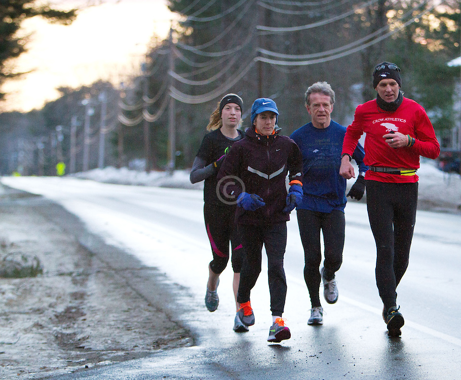 Gary Allen runs from Maine to Washington DC, (R-L) Gary Allen (Northeast Harbor), Bob Dunfey (Cape Elizabeth),  Joan Samuelson (Freeport), Sarah Emerson (Westbrook) run together early in the morning on Church Street in Brunswick