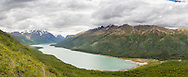 Composite panorama of Eklutna Lake and Bold Peak in Chugach State Park in Southcentral Alaska. Spring. Afternoon.
