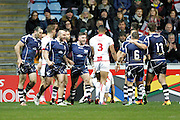 Scotland celebrate scoring the first try by Kane Linnett (4 North Queensland Cowboys) (far left) during the Ladbrokes Four Nations match between England and Scotland at the Ricoh Arena, Coventry, England on 5 November 2016. Photo by Craig Galloway.