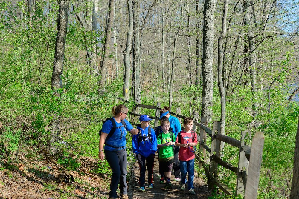 Photo of people hiking at Caesar Creek State Park, near Waynesville, Ohio, in Warren County.