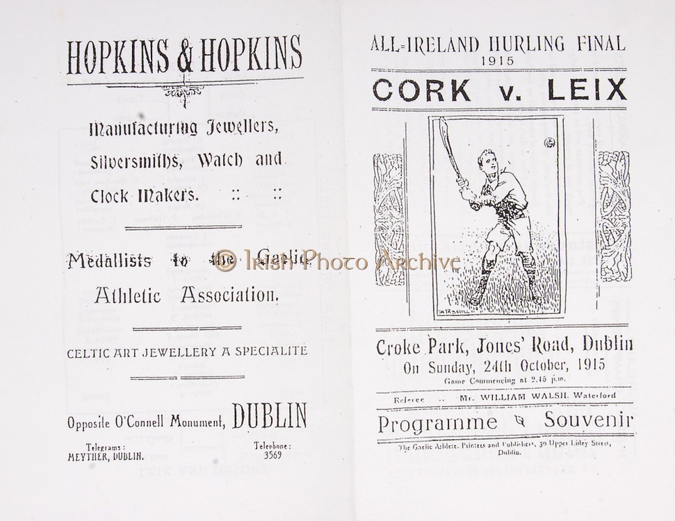 All Ireland Senior Hurling Championship Final,.24.10.1915, 10.24.1915, 24th October 1915,.Laois 6-2, Cork 4-1, .Senior Laois v Cork, .Croke Park, .24101915AISHCF,..Advertisements, Hopkins & Hopkins Jewellers Silversmiths Watch and Clock Makers,