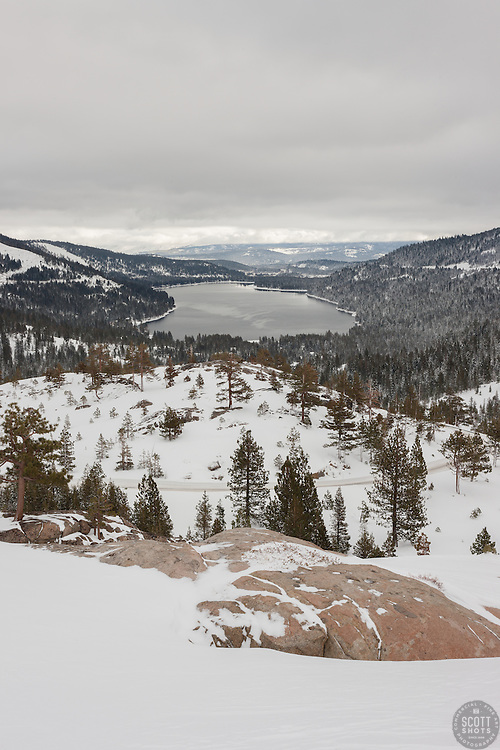 """Donner Lake in the Winter"" - This snowy scene was photographed above Donner Lake in Truckee, California."