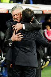 01.03.2015, Estadio Santiago Bernabeu, Madrid, ESP, Primera Division, Real Madrid vs FC Villarreal, 25. Runde, im Bild Real Madrid´s coach Carlo Ancelotti and Villarreal CF´s coach Marcelino Garcia // during the Spanish Primera Division 25th round match between Real Madrid CF and Villarreal at the Estadio Santiago Bernabeu in Madrid, Spain on 2015/03/01. EXPA Pictures © 2015, PhotoCredit: EXPA/ Alterphotos/ Luis Fernandez<br /> <br /> *****ATTENTION - OUT of ESP, SUI*****