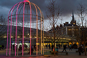 IFO (Identifi ed Flying<br /> Object) by<br /> Jacques Rival - Lumiere London is a light festival that takes place over four evenings, from Thursday 18 to Sunday 21 January 2018. It showcases the capital's architecture and streets, with more than 50 works created by leading UK and international artists. The free outdoor festival returns to London for the second time following the success of the first edition in January 2016, which attracted an estimated 1.3 million visits. The 2018 edition has an expanded footprint extending north to south, from King's Cross, through Fitzrovia, Mayfair, and London's West End, to Trafalgar Square, Westminster, Victoria, South Bank and Waterloo. Lumiere is produced by Artichoke, the UK's leading producer of outdoor art events.