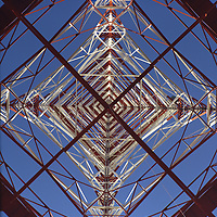 Television transmitter tower, view from below. Semi-abstract treatment. Diagonal arrangement.