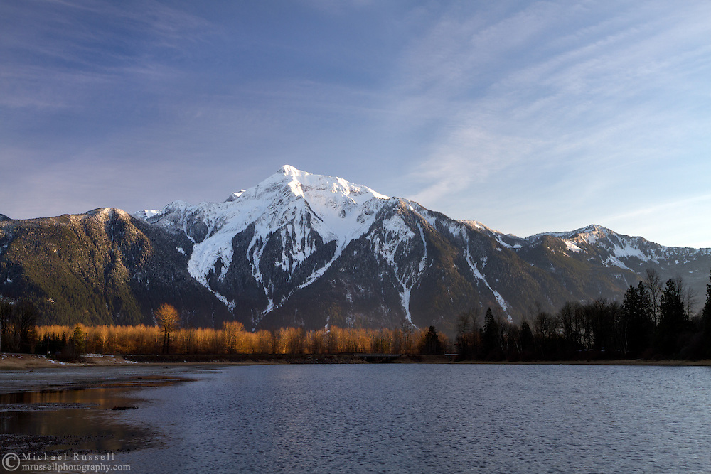 Late afternon light on Mount Cheam from Seabird Island in Agassiz, British Columbia, Canada