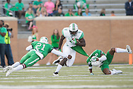 Marshall Thundering Herd wide receiver Deon-Tay McManus (4) breaks free against the North Texas Mean Green during the 1st half at Apogee Stadium in Denton, Texas on October 8, 2016. (Cooper Neill for The Herald-Dispatch)
