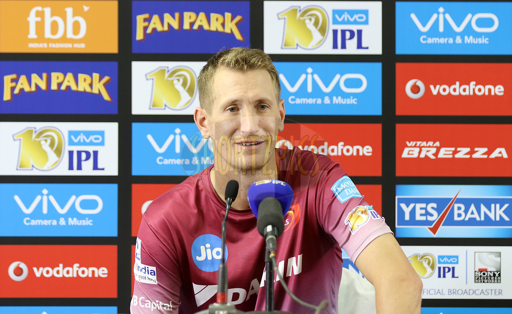 Chris Morris of the Delhi Daredevils addressing media after the match 5 of the Vivo 2017 Indian Premier League between the Royal Challengers Bangalore and the Delhi Daredevils held at the M.Chinnaswamy Stadium in Bangalore, India on the 8th April 2017<br /> <br /> Photo by Faheem Hussain - IPL - Sportzpics