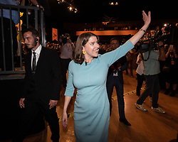 © Licensed to London News Pictures . 17/09/2019. Bournemouth, UK. Lib Dem leader JO SWINSON waves as she walks through the audience after delivering the Leader's Speech on the final day of the Liberal Democrat Party Conference at the Bournemouth International Centre . Photo credit: Joel Goodman/LNP