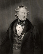 Thomas Wakley (1795-1862) English medical and social reformer and friend of William Cobbett. Founded the medical journal 'The Lancet' in 1823.  Exposed adulteration of foodstuffs (1851-1860). Member of Parliament for Finsbury (1835-1852). Coroner for West Middlesex (1839-1862). Engraving.