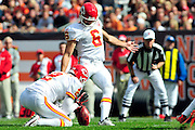 Sept. 19, 2010; Cleveland, OH, USA; Kansas City Chiefs punter Dustin Colquitt (2) holds for place kicker Ryan Succop (6) on the game winning kick during the final minutes of fourth quarter against the Cleveland Browns at Cleveland Browns Stadium. Mandatory Credit: Jason Miller-US PRESSWIRE
